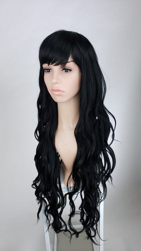 POse Wigs Black Long Curly with Bangs Fashion Wig HSSAH1