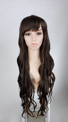 Pose Wigs Dark Brown with Highlights Long Curly with Bangs Fashion Wig HSSAH11
