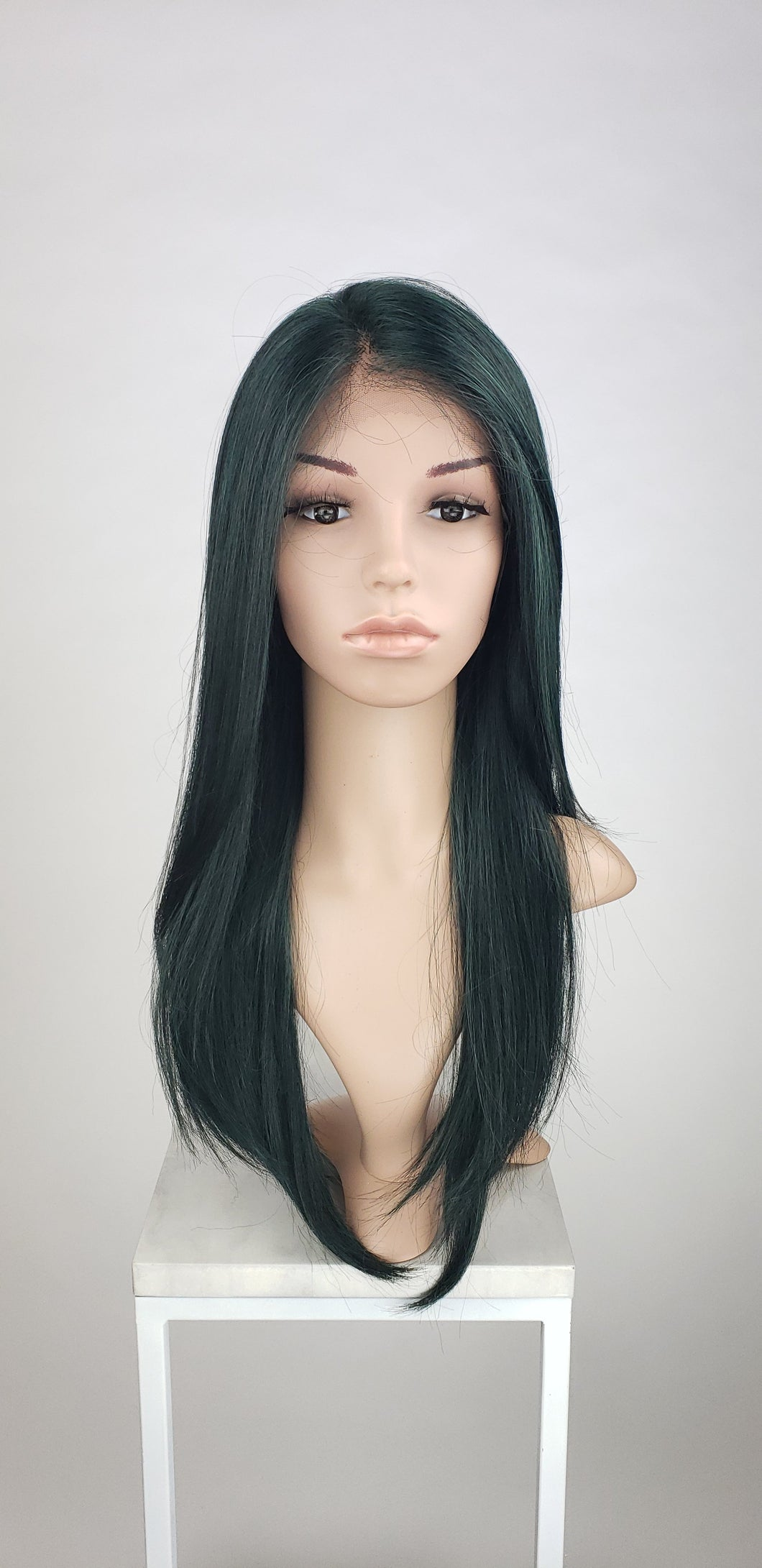 Pose Wigs Dark Green Mix Long Straight Lace Front Wig - Special Full Lace Top Duchess Series LDAAL103