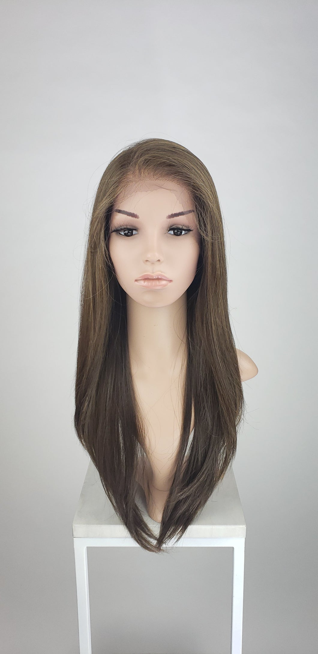 Pose Wigs Brown with Highlights Long Straight Lace Front Wig - Special Full Lace Top Duchess Series LDAAL26