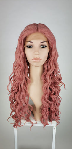 Dark Pink Mix Long Curly Lace Front Wig - Duchess Series LDCEL65