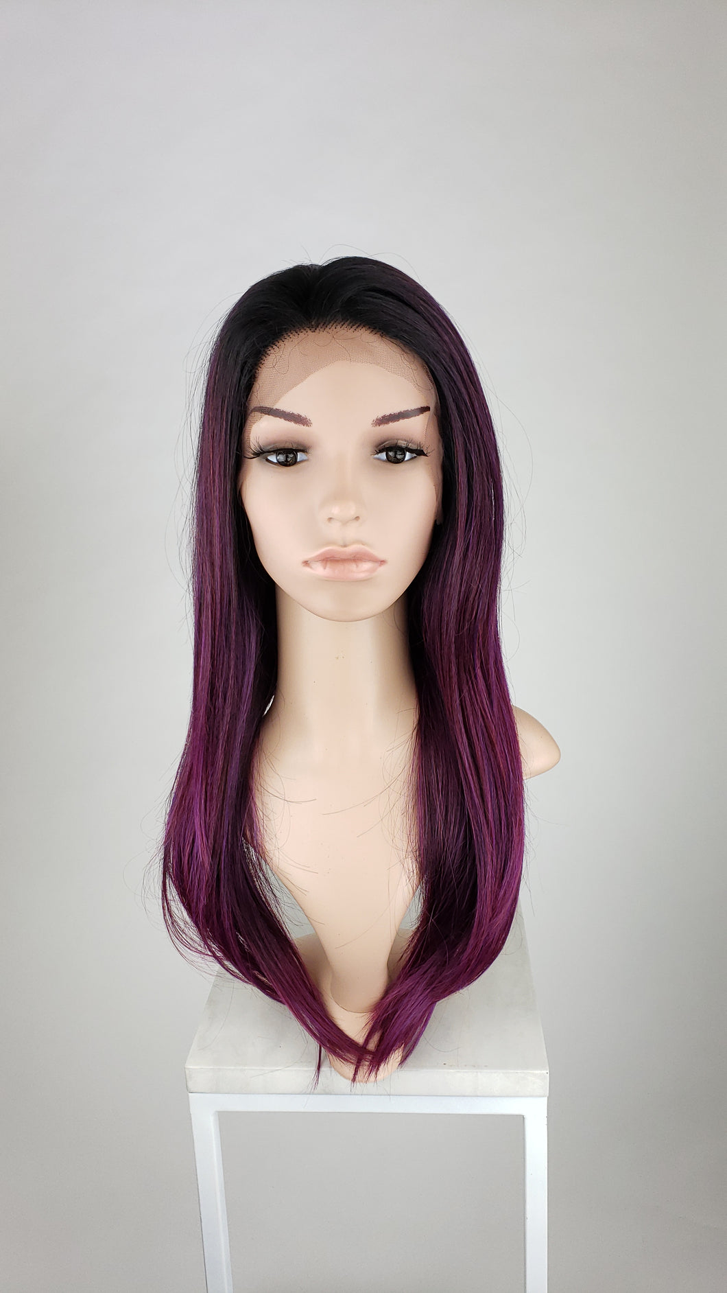Pose Wigs Dark Purple Ombre Long Straight Lace Front Wig - Duchess Series LDDAH141