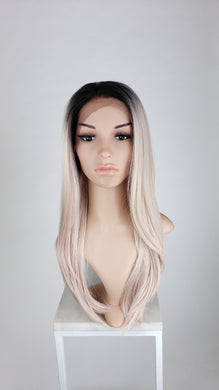 Pose WIgs Rose Gold Ombre Long Straight Lace Front Wig - Duchess Series LDDAH166 pink blonde