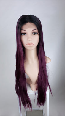 Pose Wigs Dark Purple Ombre Long Straight Lace Front Wig - Duchess Series LDDNA157