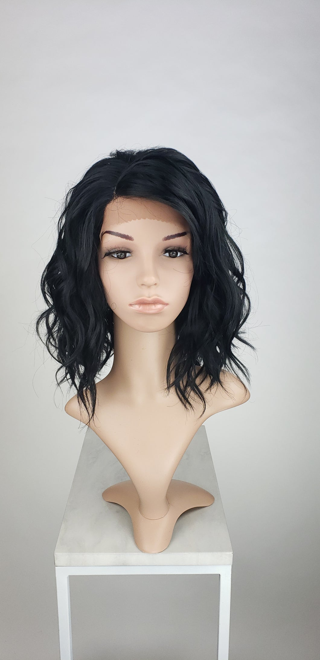 Pose Wigs Black Medium Length Wavy Bob Lace Front Wig - Duchess Series LDHAY1