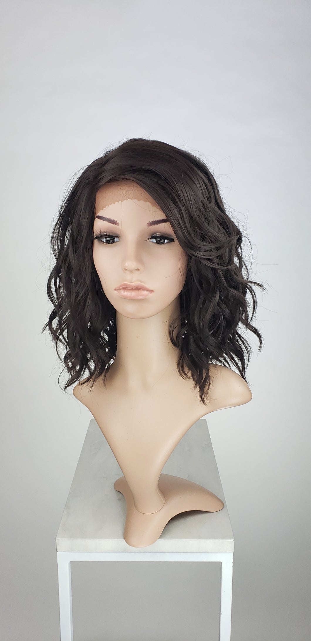 Pose Wigs Dark Brown Medium Length Wavy Bob Lace Front Wig - Duchess Series LDHAY10