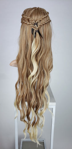 Strawberry Blonde Ombre Custom Braided Long Curly Lace Front Wig - Four Rope Braids - Duchess Series LDMON91