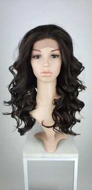 Dark Brown with Highlights Long Curly Lace Front Wig - Duchess Series LDNHT12