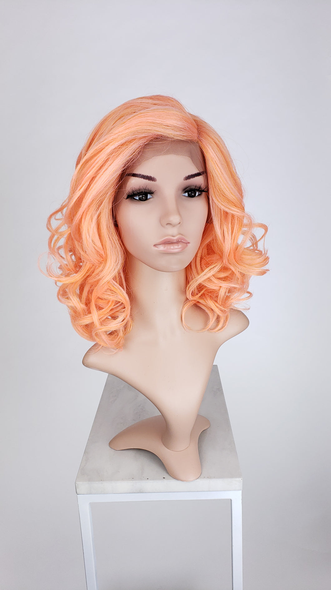 Pose Wigs Coral Mix Medium Length Curly with Bangs Lace Front Wig - Duchess Series LDREA97