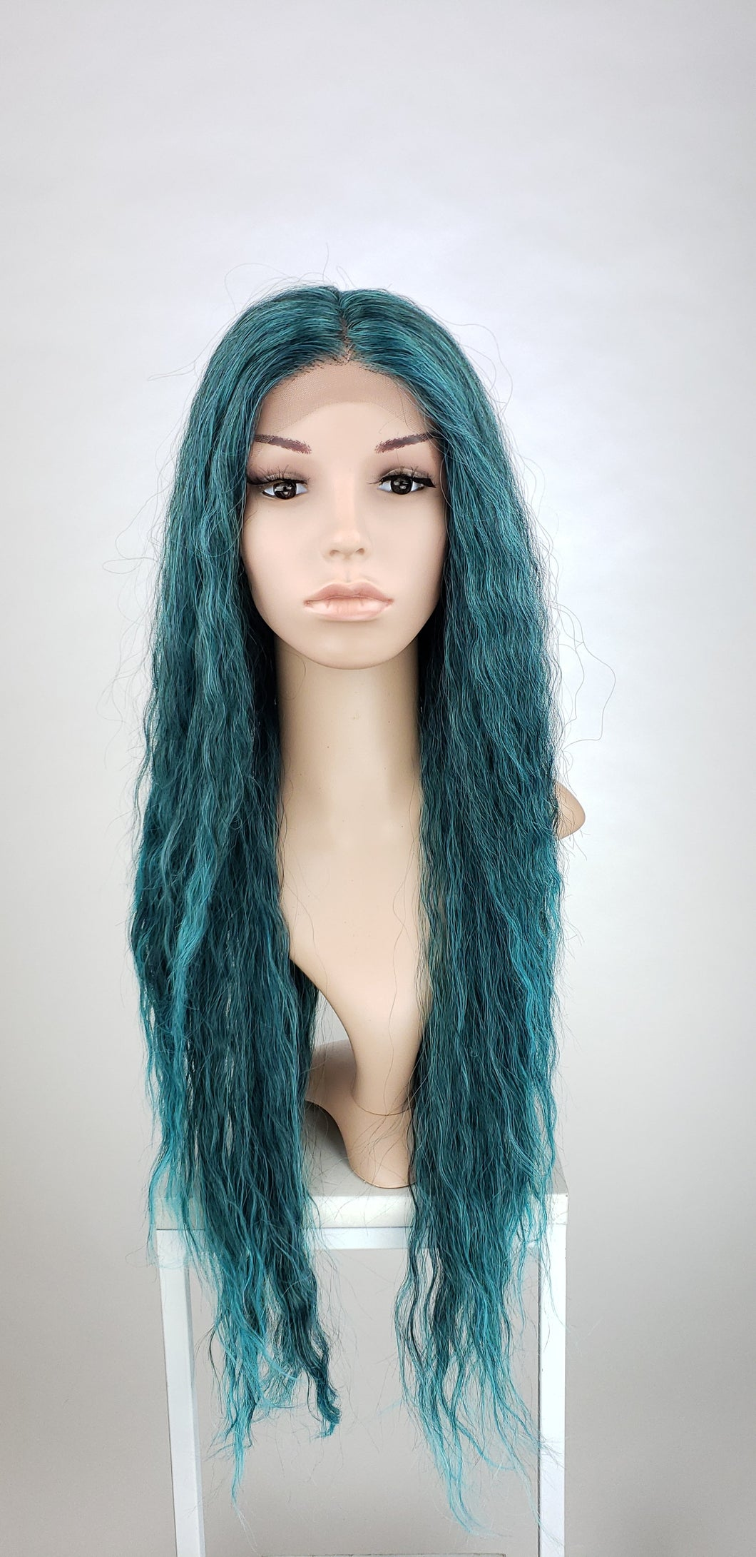 Pose Wigs Teal Green Ombre Long Curly Lace Front Wig - Duchess Series LDRVN88