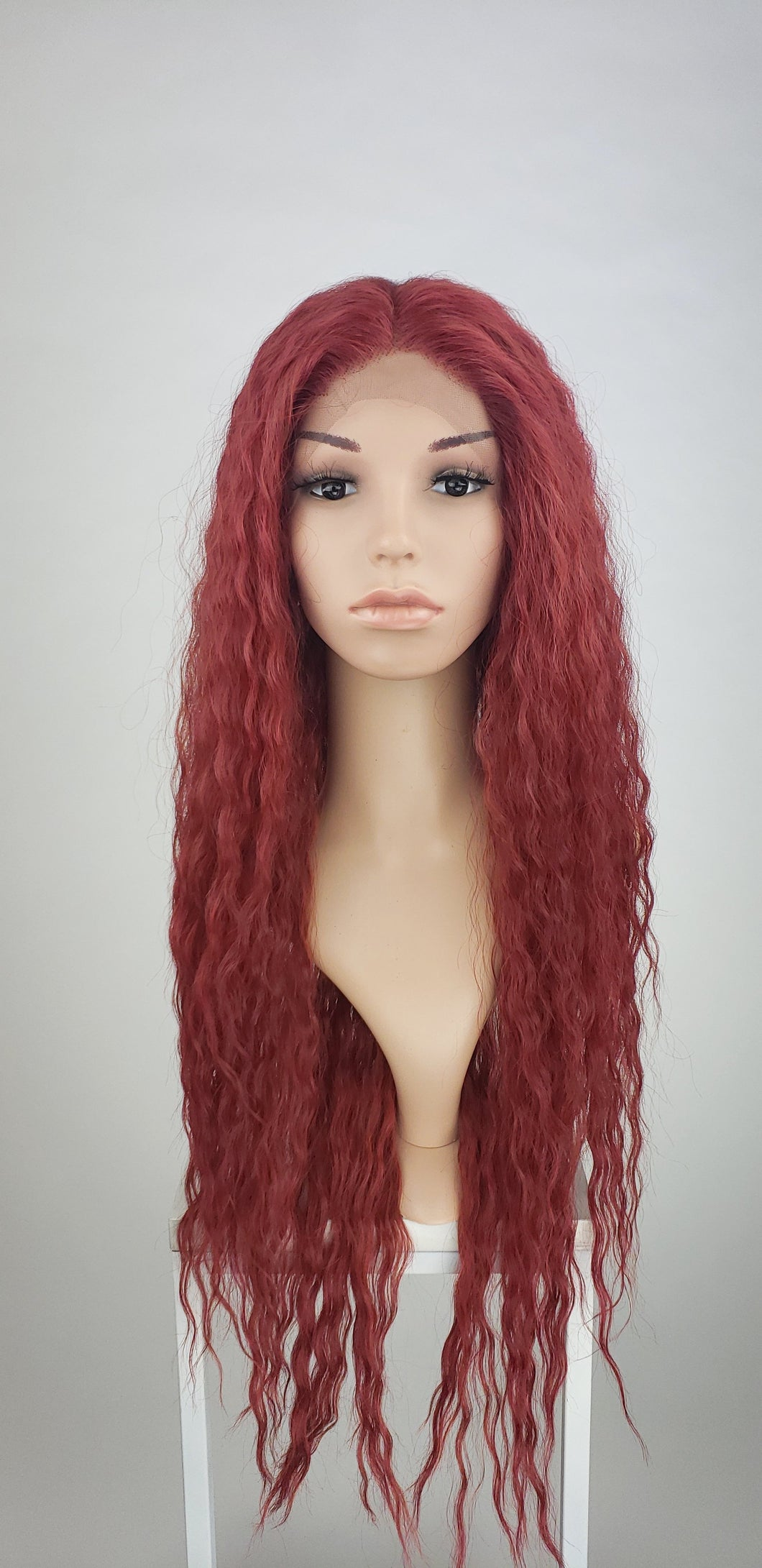 Pose Wigs Cherry Red Long Curly Lace Front Wig - Duchess Series LDRVN99