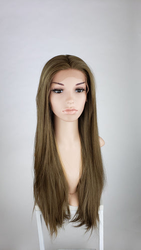 Pose Wigs Brown with Highlights Long Straight Lace Front Wig - Special Full Lace Top Princess Series LPBEL98