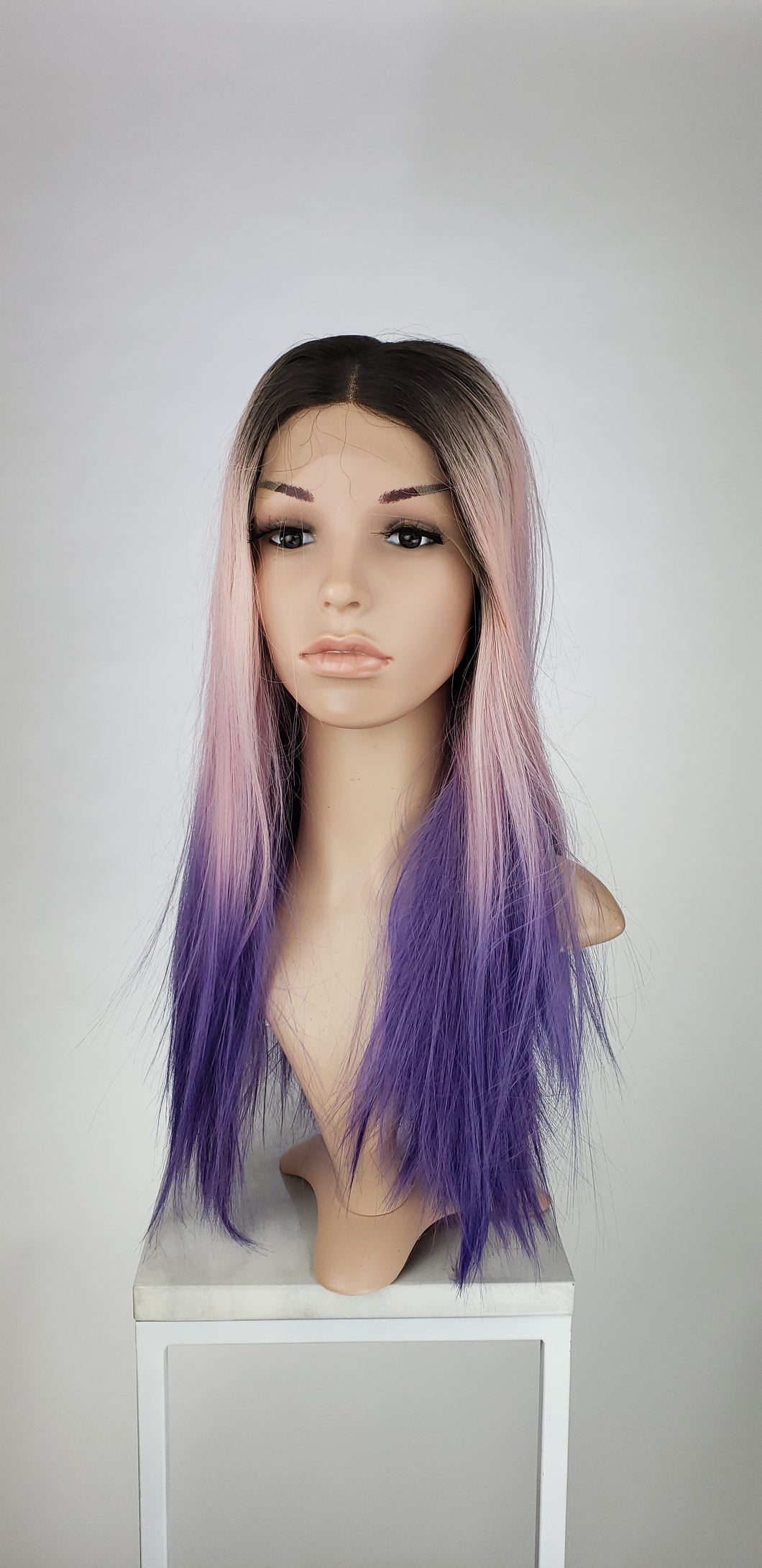 Pink + Purple Ombre Long Straight Lace Front Wig - Princess Series LPJOY259 - Custom Dyed