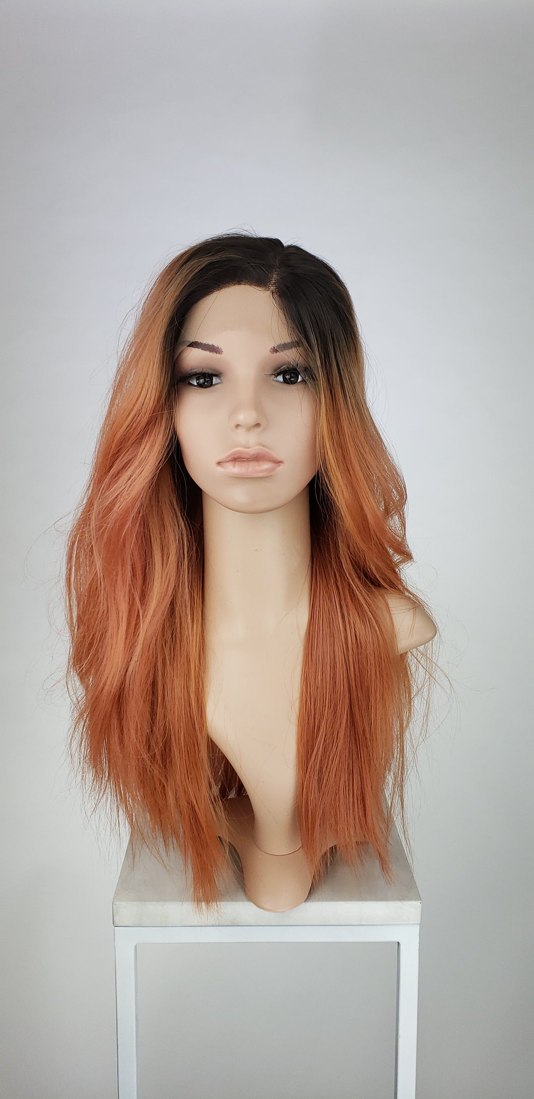 Coral Ombre Long Straight Lace Front Wig - Princess Series LPJOY260 - Custom Dyed