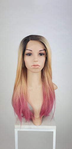 Pose Wigs Sunrise Pink Ombre Long Straight Lace Front Wig - Princess Series LPJOY267 - Custom Dyed