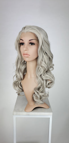 Silver Grey Long Curly Lace Front Wig - Princess Series LPKAT23