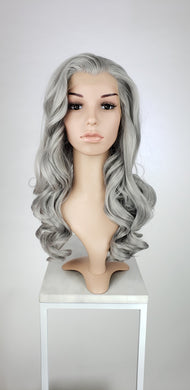 Steel Grey Long Curly Lace Front Wig - Princess Series LPKAT244