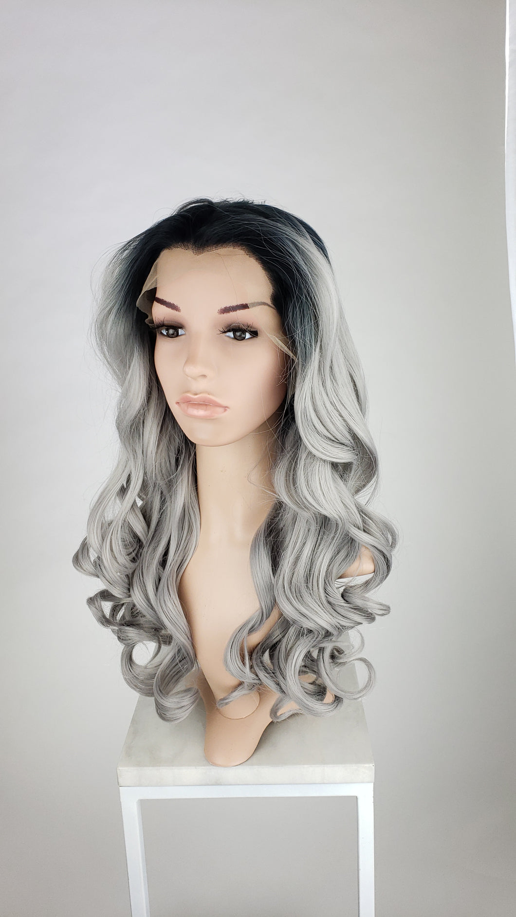 Pose Wigs Silver Grey Ombre Long Curly Lace Front Wig - Princess Series LPKAT80
