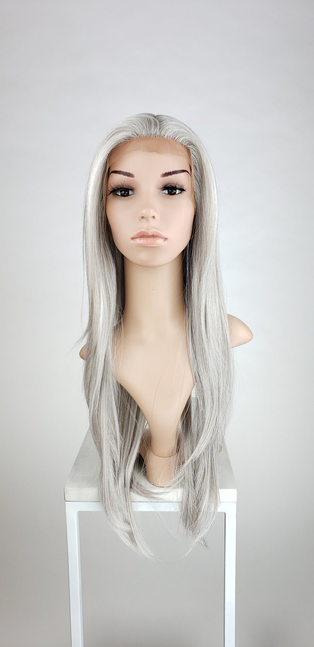 Pose Wigs Silver Grey Mix Long Straight Lace Front Wig - Special Full Lace Top Princess Series LPMAL213
