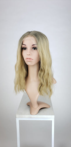 Pose Wigs Blonde Balayage Ombre Medium Length Wavy Lace Front Wig - Princess Series LPMVL82
