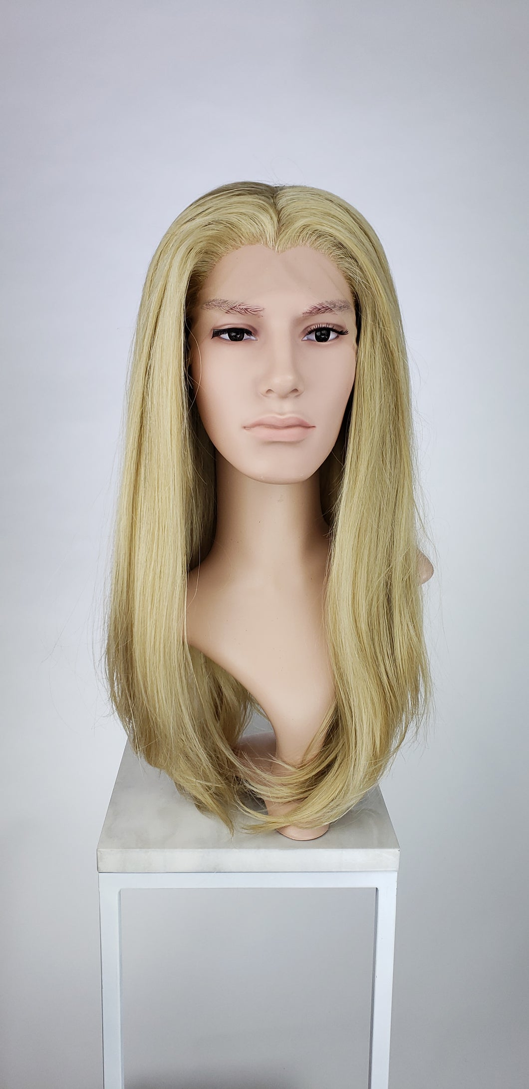 Mens Blonde Mix Long Straight Lace Front Wig - LPSKY122