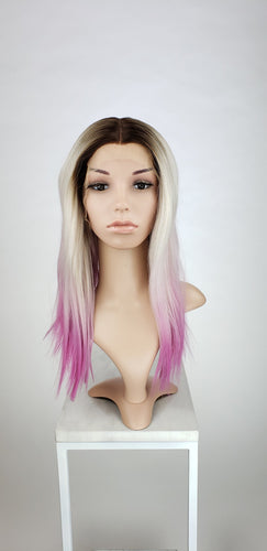 Silver Blonde and Pink Ombre Medium Length Straight Lace Front Wig - Princess Series LPSUN257 - Custom Dyed