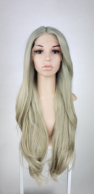 Light Cool Blonde Ombre Long Straight Lace Front Wig - Princess Series LPTAZ240