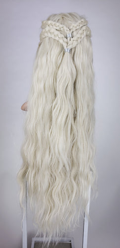 White Blonde Custom Braided Long Wavy Lace Front Wig - Four Dutch Braids - Queen Series LQRUE16
