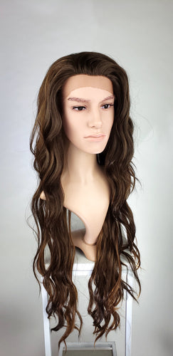 Mens Dark Brown Mix Long Curly Lace Front Wig - LLMON18
