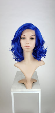 Blue Medium Length Curly with Bangs Lace Front Wig - Duchess Series LDREA148