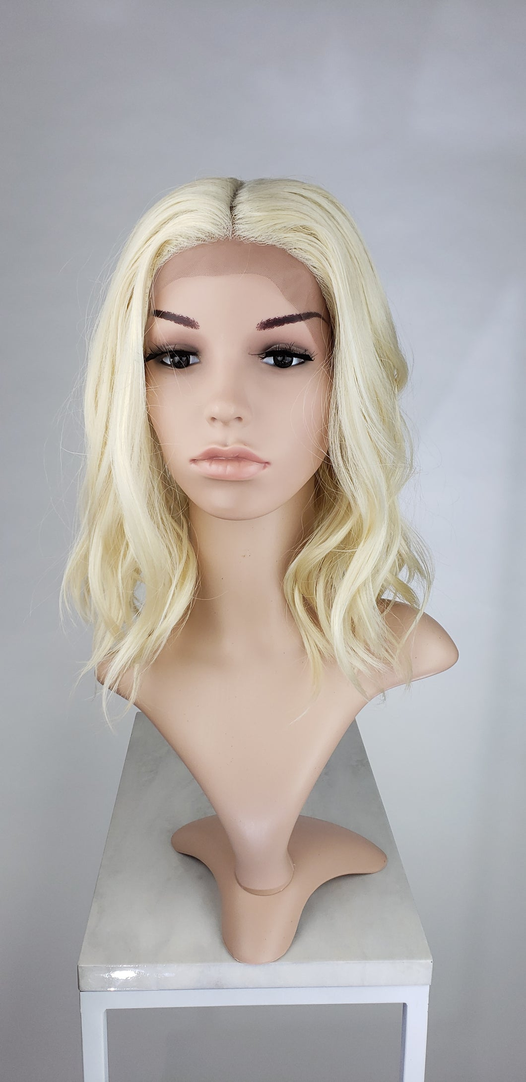 Blonde Medium Length Wavy Bob Lace Front Wig - Lady Series LLHAT44
