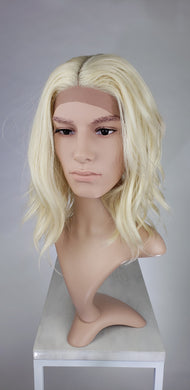 Mens Blonde Medium Length Wavy Lace Front Wig - LLHAT44