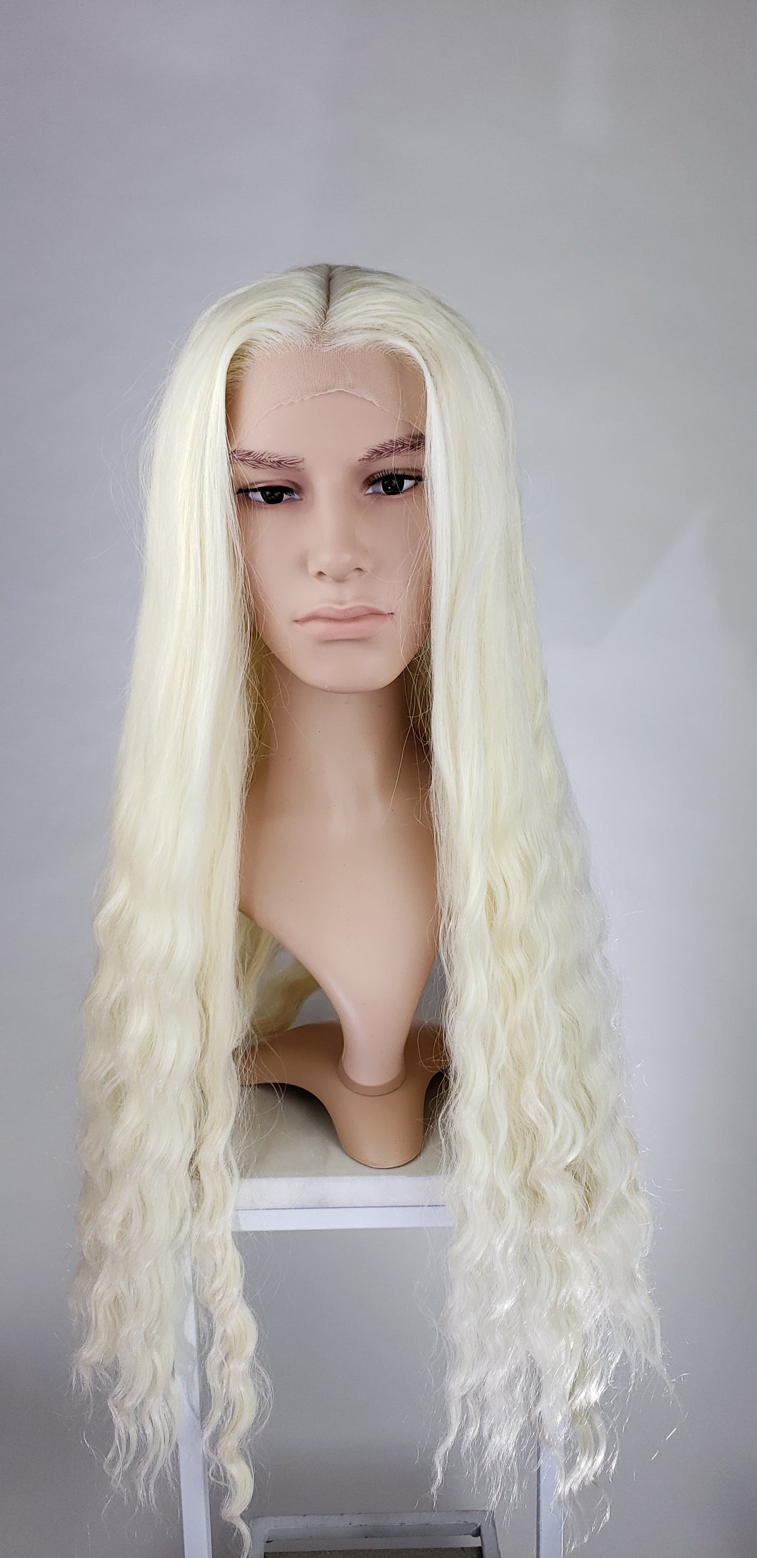 Pose Wigs Alucard Mens Crystal Blonde Long Curly Lace Front Wig - LPALU42