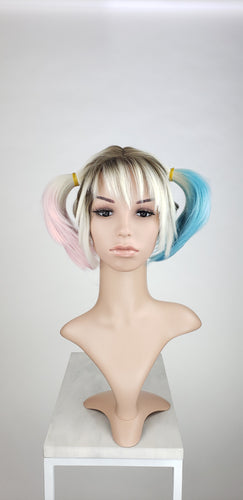 Harley Quinn Custom Cut Pigtails Lace Front Wig - Blonde, Pink, + Blue Birds of Prey Princess Series LPBOP253Cut