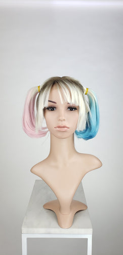 Harley Quinn Pigtails Lace Front Wig - Blonde, Pink, + Blue Birds of Prey Princess Series LPBOP253