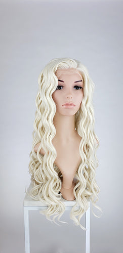 Pose Wigs White Blonde Long Curly Lace Front Wig - Princess Series LPDAE17