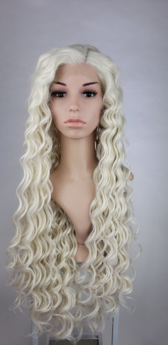 White Blonde Long Curly Lace Front Wig - Extra Thick 200% Hair Density - Princess Series LPEVE17