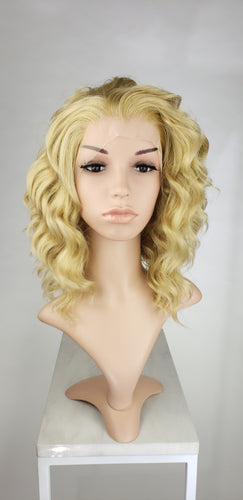 Blonde Mix Medium Length Curly Lace Front Wig - Princess Series LPFAE122