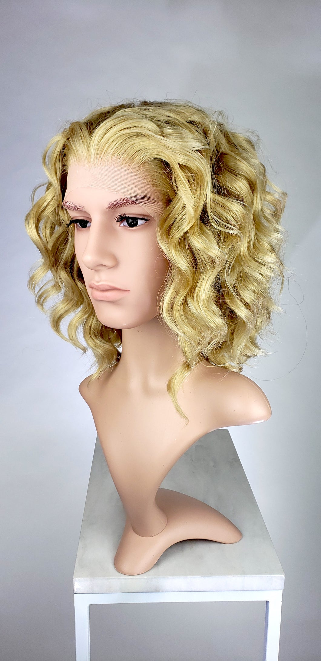 Mens Blonde Mix Medium Length Curly Lace Front Wig - LPFAE122