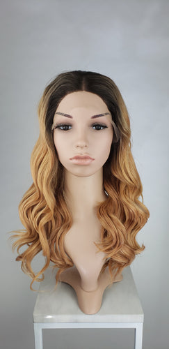 Dark Peach Blonde Ombre Long Curly Lace Front Wig - Princess Series LPJOY260