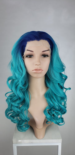 Aqua Turquoise Blue Ombre Long Curly Lace Front Wig - Princess Series LPKAT237