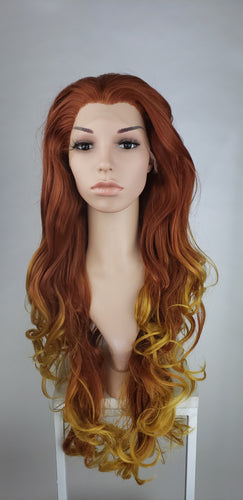Red and Golden Blonde Ombre Long Curly Lace Front Wig - Princess Series LPALY92