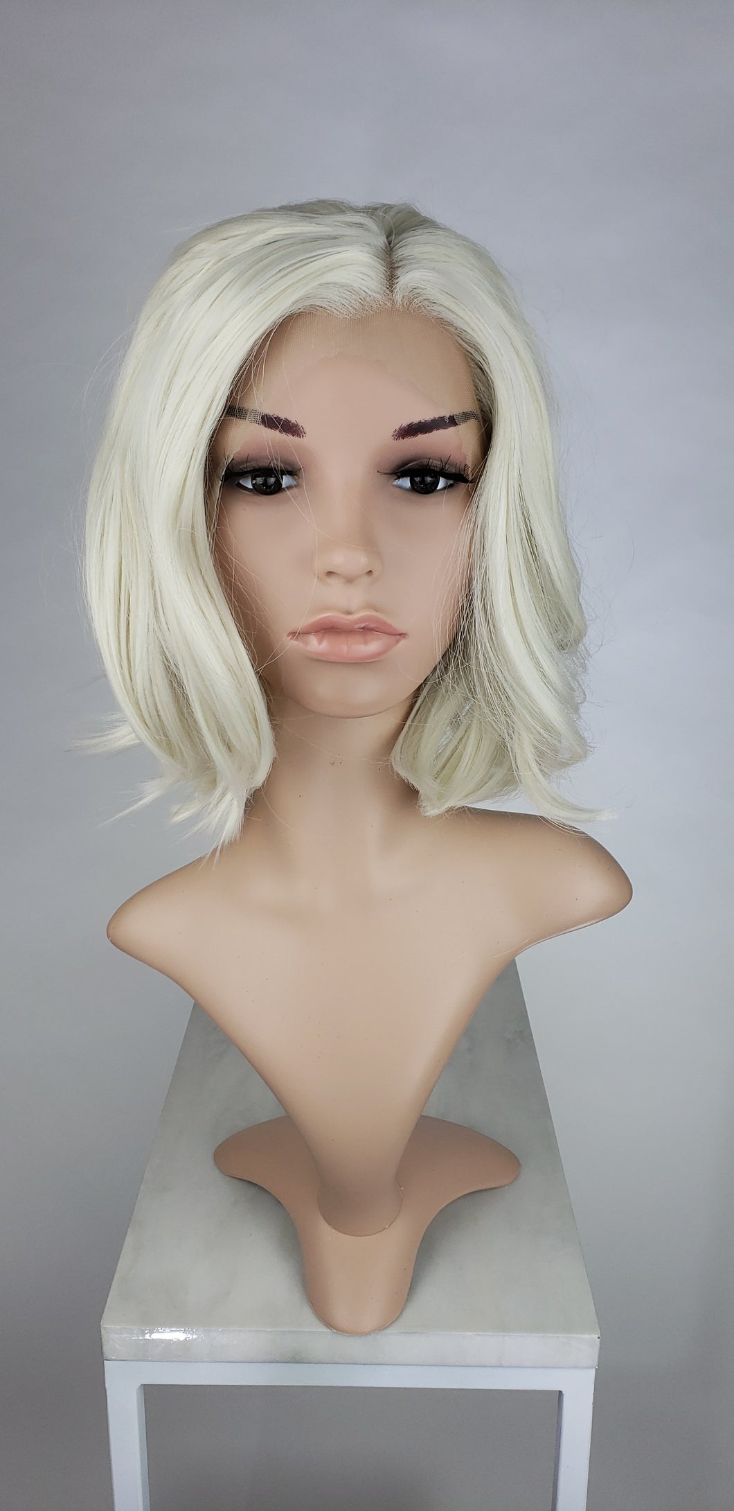 White Blonde Short Wavy Bob Lace Front Wig - Princess Series LPLIV17