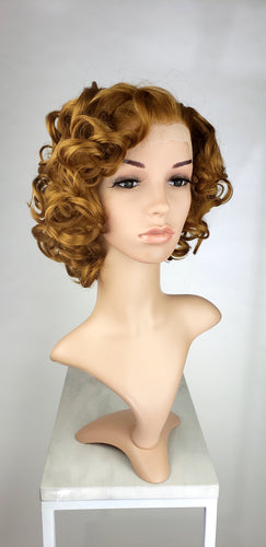 Pose Wigs Light Chestnut Brown / Dark Strawberry Blonde Short Curly Bob Lace Front Wig - Princess Series LPMAE32