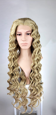 Mens Dirty Blonde Long Curly Lace Front Wig - LPMIA67