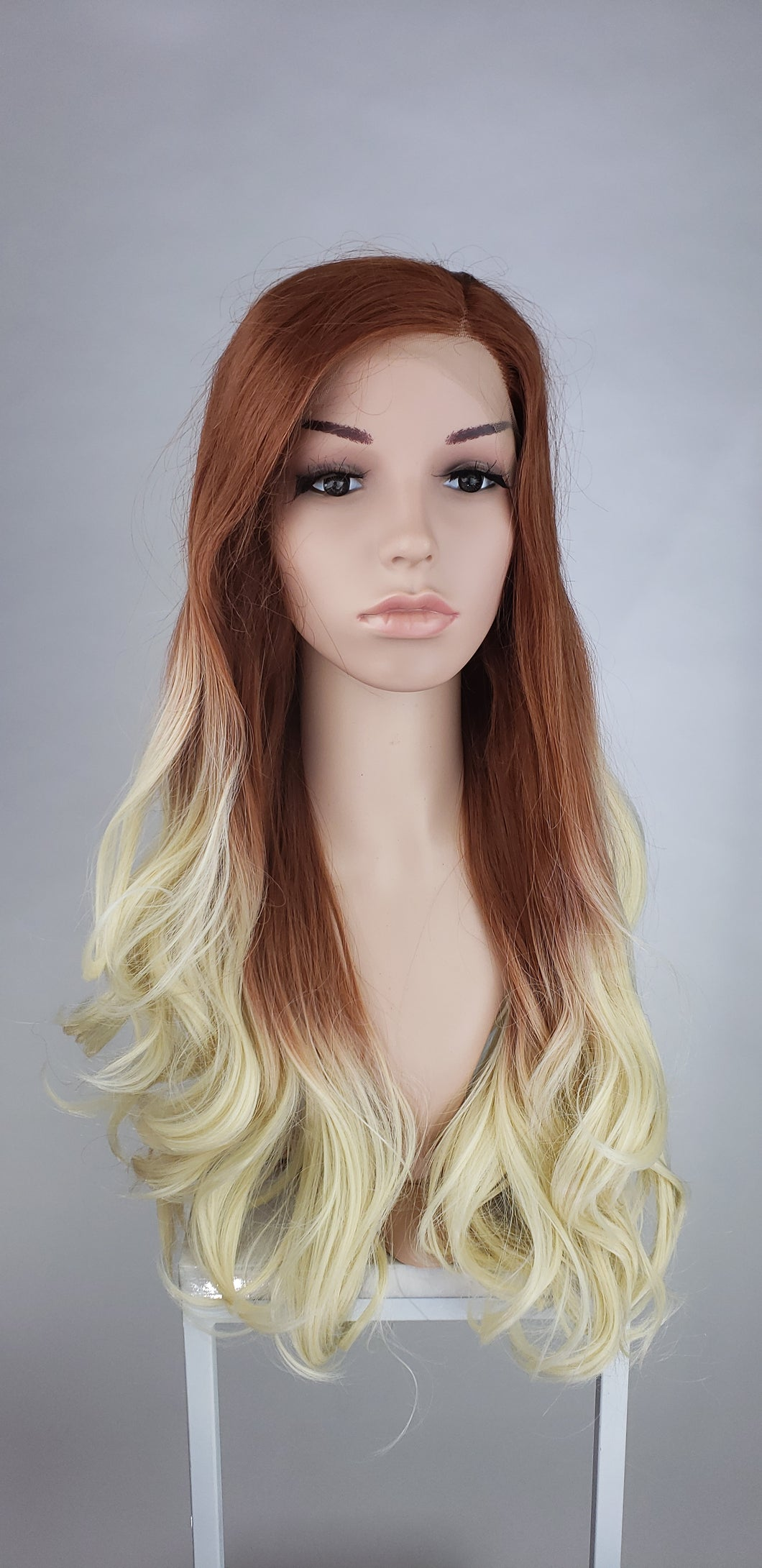 Pose Wigs Red and White Blonde Ombre Long Wavy Lace Front Wig - Princess Series LPNAT41