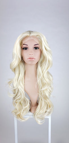 Pose Wigs Glitter Crystal Blonde Long Wavy Lace Front Wig - Princess Series LPSHN42