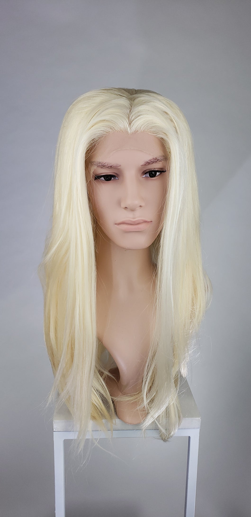 Pose Wigs Mens Blonde Long Straight Lace Front Wig - LPSKY44