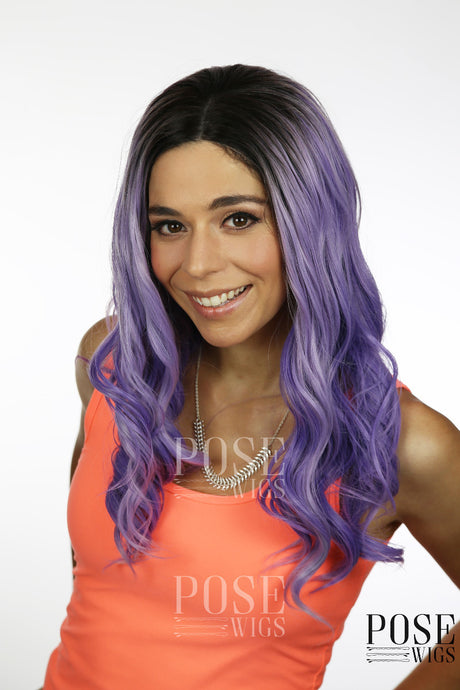 Balayage Misty Purple Ombre Long Curly Lace Front Wig - Princess Series LP096