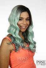 Balayage Minty Green Ombre Long Curly Lace Front Wig - Princess Series LP094